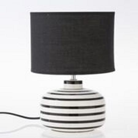 Bordlampe i sort og hvite striper med sort skjerm