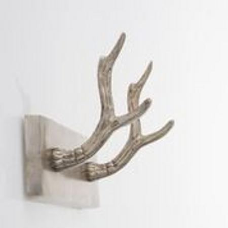 Reinsdyrknagg antikk sølv m 2 knagger